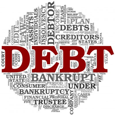 Debt concept in word tag cloud